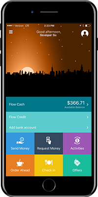 iPhone 7 with Flow Financial App Displayed